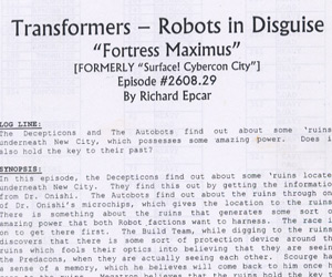Transformers Robots In Disguise Original Scripts